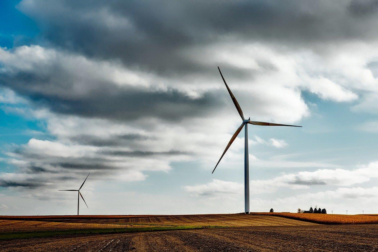 Renewable energy windmills on a windfarm